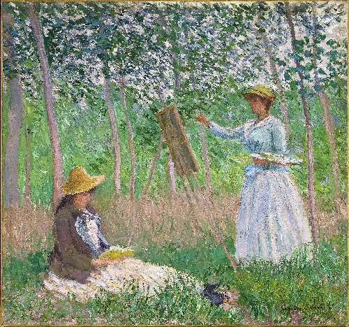 In the Woods at Giverny Blanche Hoschede at Her Easel with Suzanne Hoschede Reading   Claude Monet   oil painting