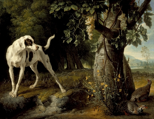 Landscape with a Dog and Partridges | Alexandre Francois Desportes | oil painting