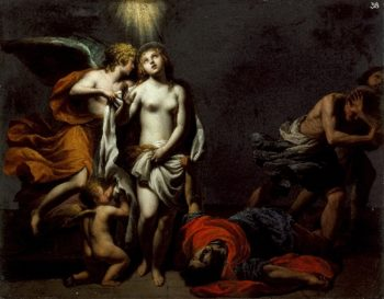 Saint Agnes Protected by an Angel | Alessandro Turchi (called Orbetto) | oil painting