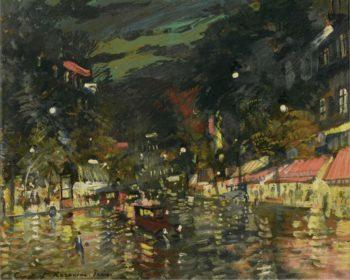 Boulevard by Night Paris | Constantin Korovin | oil painting