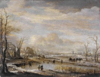 Frozen River with a Footbridge | Aert van der Neer | oil painting