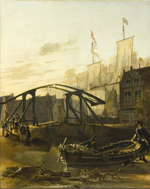 View of a Harbor in Schiedam | Adam Pynacker | oil painting