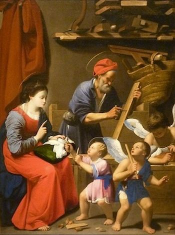 The Holy Family in St. Joseph?s Workshop | Carlo Saraceni | oil painting