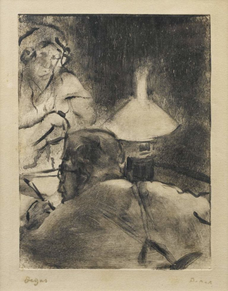 Reading under the Lamp 1880 83 | Edgar Degas | oil painting