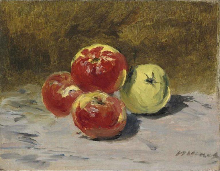 Four Apples 1882   Eduard Manet   oil painting