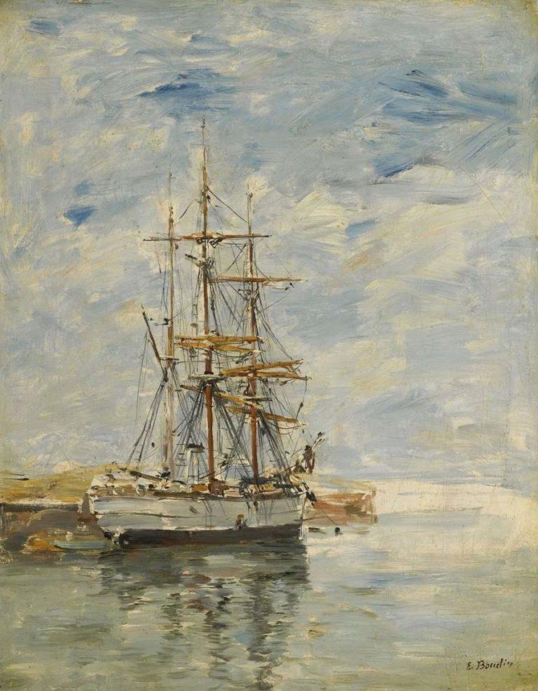 Anchored Three Master 1894 97 | Eugene Boudin | oil painting