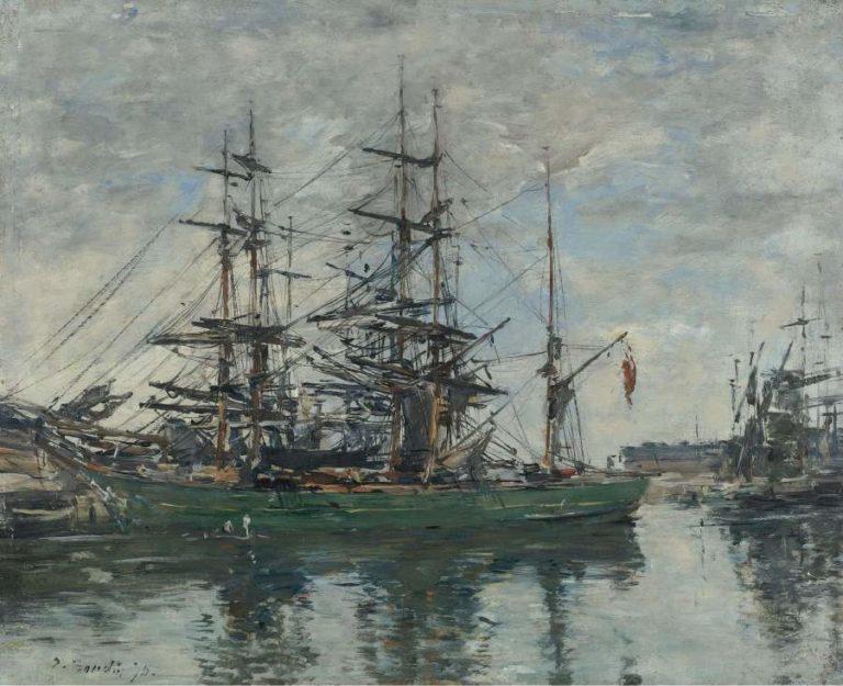 Basin of Deauville 1878   Eugene Boudin   oil painting