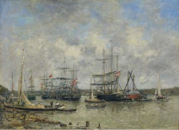 Bordeaux Three Master on the Garonne 1876 | Eugene Boudin | oil painting