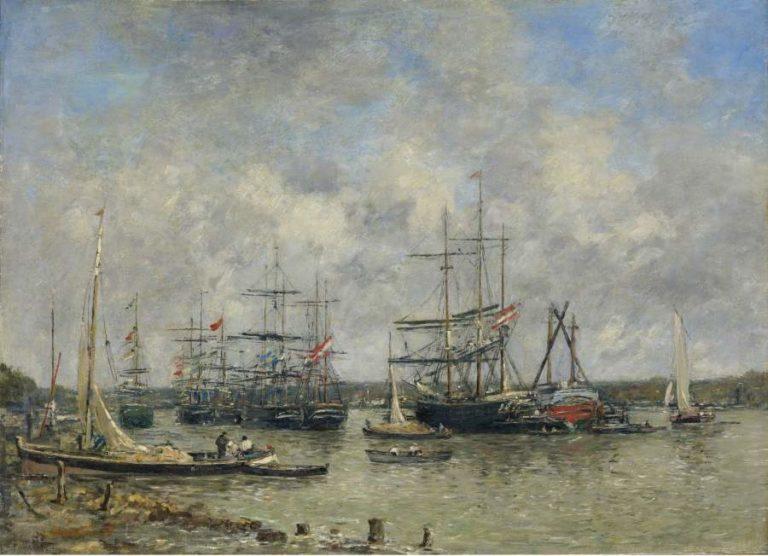 Bordeaux Three Master on the Garonne 1876 | Eugene Boudin | oil painting