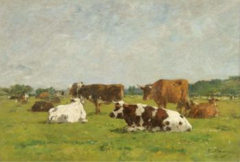 Cows at the Pasture 1880 85 01 | Eugene Boudin | oil painting