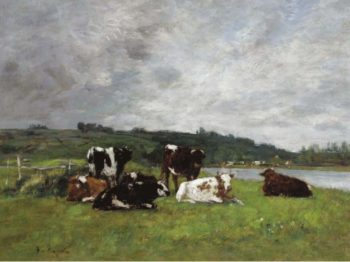Cows at the Pasture 1880 85 02 | Eugene Boudin | oil painting