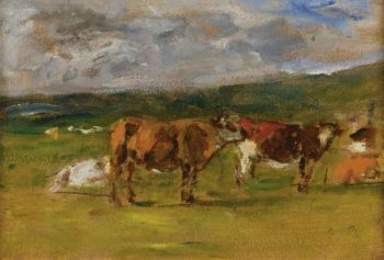 Cows on the Pasture (study) 1880 85 | Eugene Boudin | oil painting
