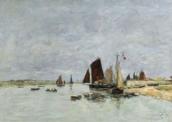 Etaples Boats at the Port 1876 | Eugene Boudin | oil painting