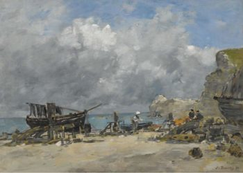 Etretat Fishing Boats and Fishers at the Beach 1890 | Eugene Boudin | oil painting