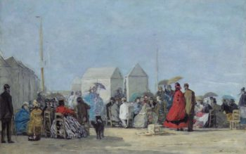 Scene on the Beach at Trouville 1864 | Eugene Boudin | oil painting