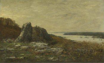 The Outskirts of Brest the Estuary of the Elorn River 1873   Eugene Boudin   oil painting