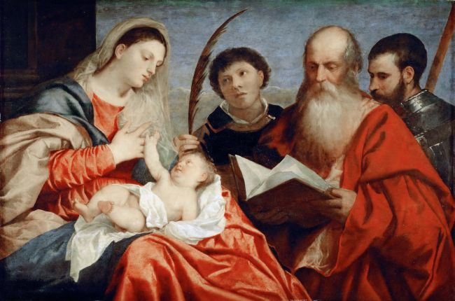 Saint Mary with child and Saints Stephanus Hieronymus and Mauritius   Titian   oil painting