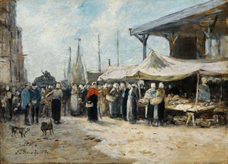 Trouville Fishing Market 1875 | Eugene Boudin | oil painting