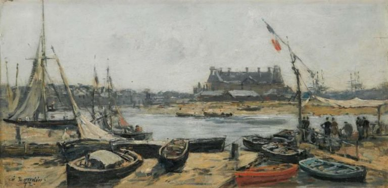 Trouville View of Port`s Landing Stage 1872 | Eugene Boudin | oil painting
