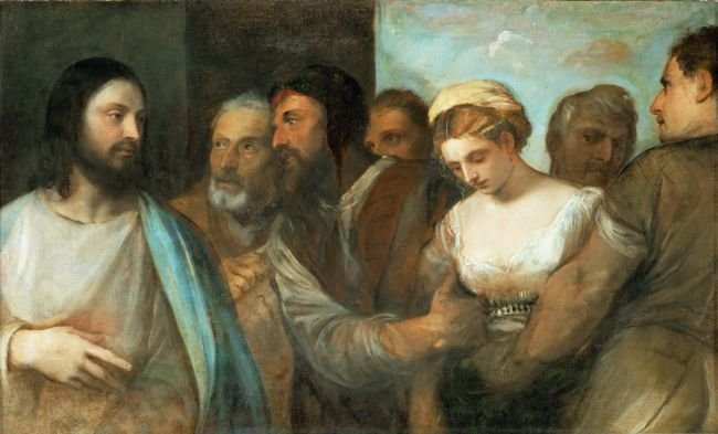 Christ and the Adulteress   Titian   oil painting