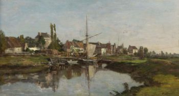 Village in Normandie on the Riverbank 1858 62 | Eugene Boudin | oil painting