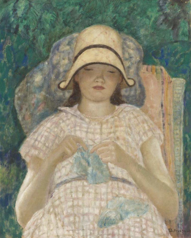 Girl Knitting 1928 | Frederick Carl Frieseke | oil painting
