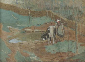 Woman and Cow in a Landscape | Frederick Carl Frieseke | oil painting