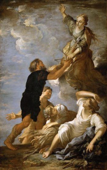 Astrea Goddess of Agriculture and Fertility Turns Away from   Salvator Rosa   oil painting