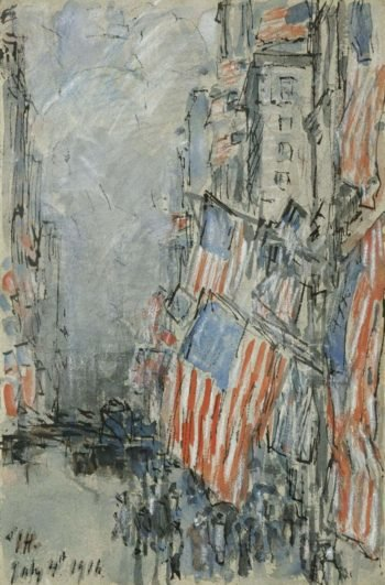 Flag Day Fifth Avenue July 4th 1916 | Frederick Childe Hassam | oil painting