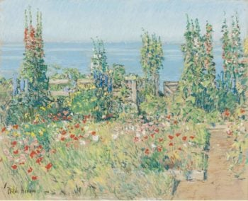 Hollyhocks Isle of Shoals 1902 | Frederick Childe Hassam | oil painting
