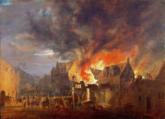 Archduke Leopold Wilhelm at a Nighttime Fire | Robert van den Hoecke | oil painting