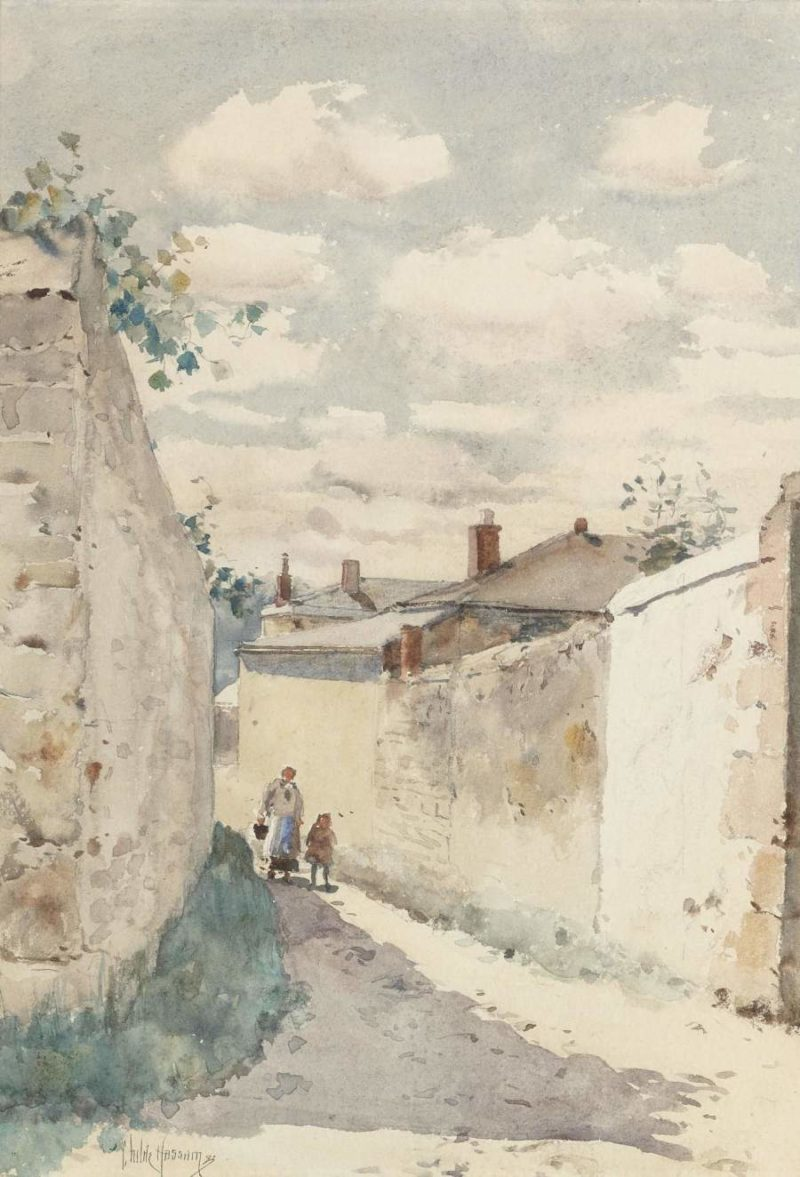 The Street in Auvers sur Oise 1883   Frederick Childe Hassam   oil painting