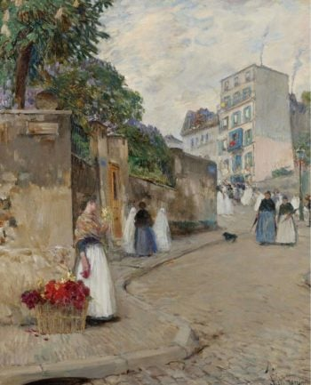 The Street of Montmartre Paris | Frederick Childe Hassam | oil painting