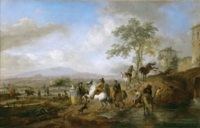 Riding school and horse watering place   Philips Wouwerman   oil painting