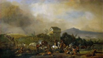 Attack on a line of coaches | Philips Wouwerman | oil painting