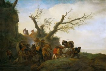 Attack on a group of travellers | Philips Wouwerman | oil painting