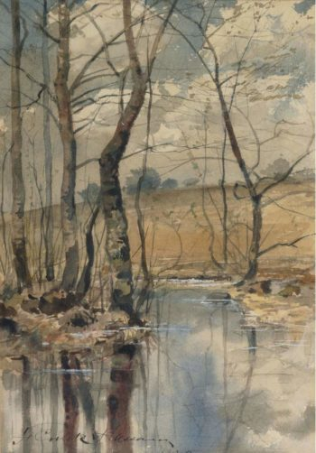 Woodland Pond 1882 | Frederick Childe Hassam | oil painting