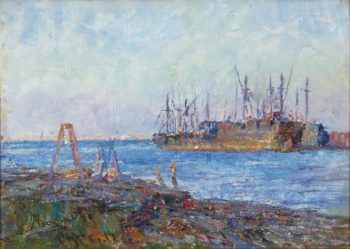 Battleship in the Harbour | Frederick McCubbin | oil painting