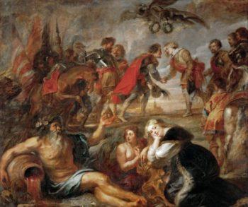 Emperor Ferdinand III Meets Cardinal Infant Ferdinand Before the Battle of Noerdlingen   Peter Paul Rubens   oil painting