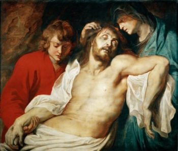 Deploration of Christ with Saints Mary and John the Apostle   Peter Paul Rubens   oil painting