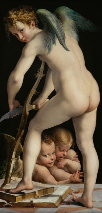 Cupid carving his bow | Parmigianino | oil painting