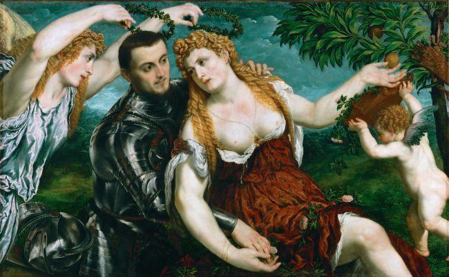 Venus Mars and Cupid Crowned by Victory | Paris Bordone | oil painting