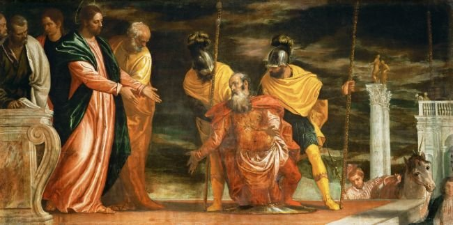 Centurion of Capernaum who begs Jesus to heal his paralyzed servant | Paolo Veronese | oil painting