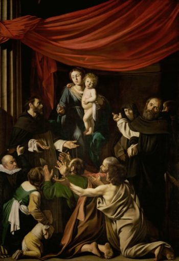 Madonna of the Rosary with Saints Domenic and Peter Martyr | Michelangelo Merisi da Caravaggio | oil painting