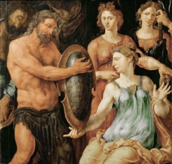 Vulcan Handing Thetis the Shield for Achilles | Maerten van Heemskerck | oil painting