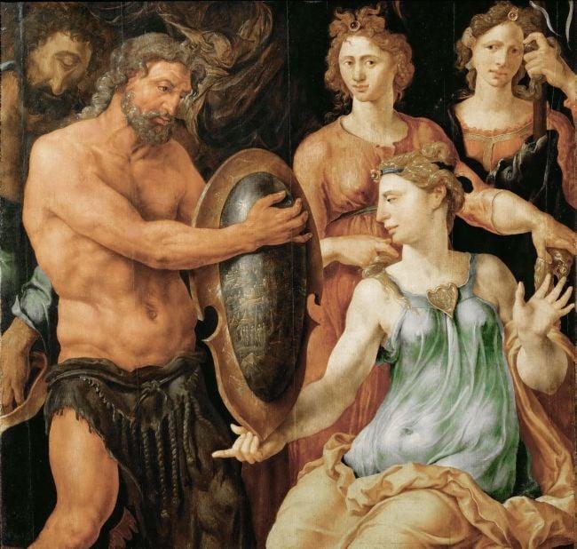 Vulcan Handing Thetis the Shield for Achilles   Maerten van Heemskerck   oil painting