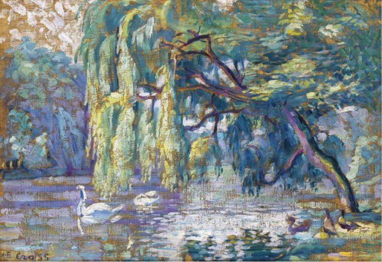 Swans Family (Forest of Boulogne) | Henri Edmond Cross | oil painting