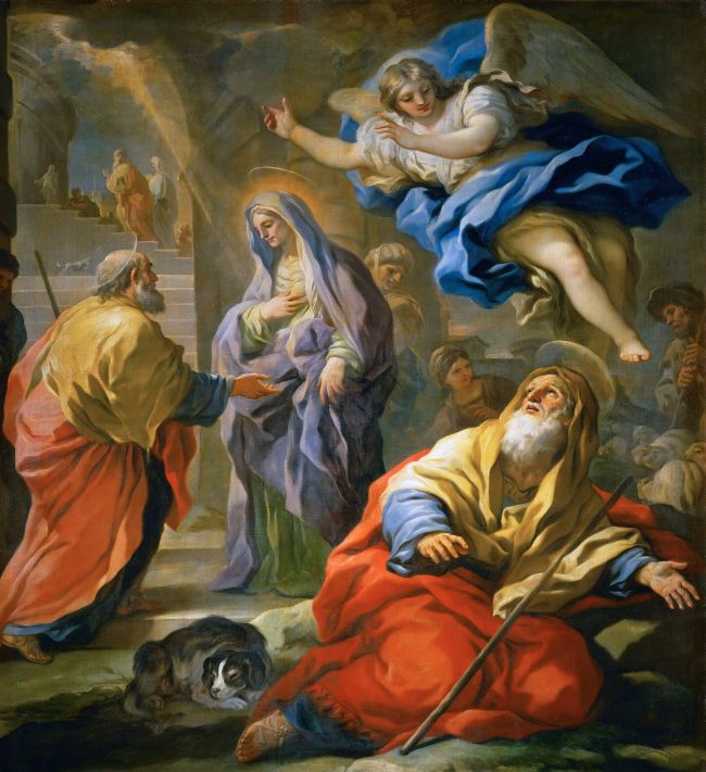 Annunciation to Joachim and Meeting and the Golden Gate   Luca Giordano   oil painting