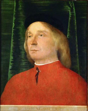 Young man in a red jacket | Lorenzo Lotto | oil painting