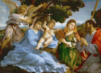 Virgin and child with Saints Catherine of Alexandria and James the Elder | Lorenzo Lotto | oil painting